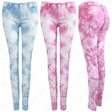 NEW LADIES TIE DYE DENIM SKINNY JEANS WOMENS COLOUR STRETCH FIT PANTS TROUSER