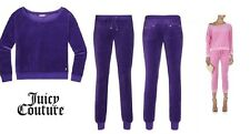 JUICY COUTURE RELAXED TOP AND SLIM SNAP POCKET PANTS Velour Tracksuit SET L