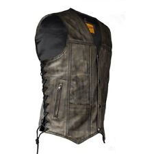 MENS MOTORCYCLE DISTRESSED BROWN LEATHER VEST w/ DUAL CONCEAL GUN POCKETS - DA73