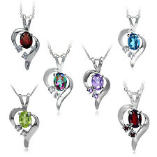 "Genuine Gemstone 925 Sterling Silver Modern Heart Pendant w/18"" Chain Necklace"