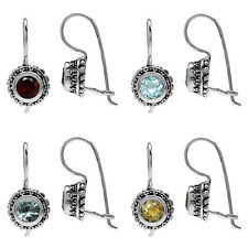 925 Sterling Silver Gemstone Balinese Inspired Closure Hook Earrings