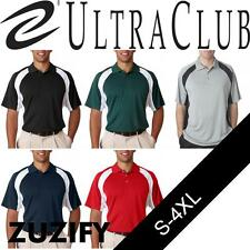 UltraClub Mens Cool & Dry Performance Color Block Interlock Polo Shirt. 8427
