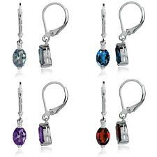 Gemstone 925 Sterling Silver w/White Gold Plated Modern Leverback Earrings