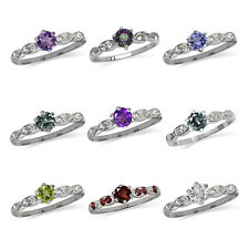 925 Sterling Silver w/White Gold Plated Gemstone Engagement/Birthstone Ring