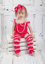 Baby Hot Pink Lace Petti Rompers Hot Light Pink Lace Warmers Bow Headband 3pc