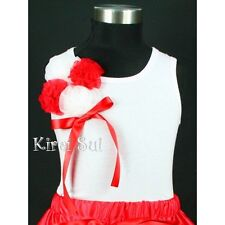 White Tank Top Pettitop White Red Bunch Rosettes for Pettiskirt 3M-10Y DN72