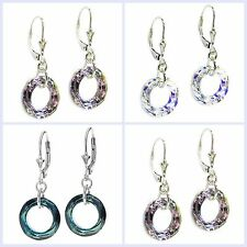Swarovski Elements Round Circle Ring Sterling Silver Leverback Dangle Earring