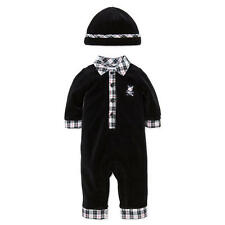 Little Me Boys Black Bear Embroidered Coverall with Matching Hat Set