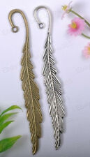 2pcs Tibetan Silver & Bronze FEATHER Charms Bookmarks 116X15MM BE626