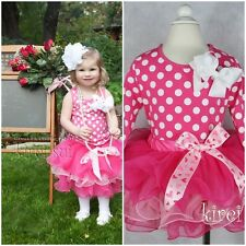 Girls Valentine's Day Hot Light Pink Tutu Bow Polka Dots Tee Party Dress 1-7Y