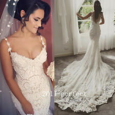 Sexy Mermaid Lace Appliques Wedding Dresses Pearls Spaghetti Strap Bridal Gowns