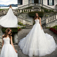 Princess Strapless Wedding Dresses Formal Cathedral Train Bridal Gowns Custom