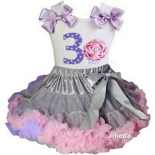 Gray Lavender Pink Pettiskirt & 3rd Birthday Cupcake Tank Top Dress Outfit