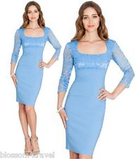 Goddess Light Blue Square Neck Bengaline Lace Fitted Pencil Cocktail Party Dress