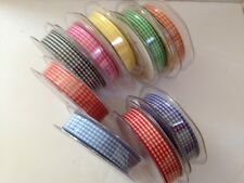 Eleganza Tiny Gingham cut edge ribbon chequered - 15mm- 10 colours & 4 lengths