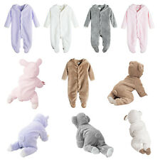 Toddler Baby Boys Girls Flannel Bodysuit Hoodie Romper One-piece Jumpsuit Outfit
