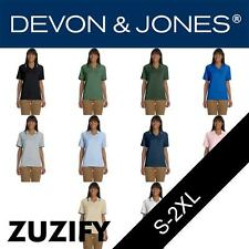 Devon & Jones Classic Ladies Tipped Perfect Pima Interlock Polo Shirt. D140W