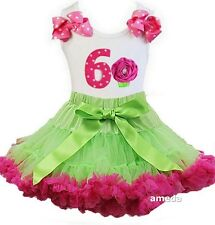 Lime Green Hot Pink Pettiskirt & 6th Birthday Cupcake Tank Top Dress Outfit