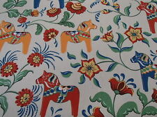 Swedish Dala Horse & Kurbits Flower Fabric Navy, Ecru or White w/yellow horses