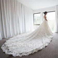 2017 New Lace Applique Wedding Dresses Pears Cathedral Train Bridal Gowns Custom