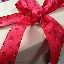 GLITTERY SNOWBALLS Red Spots on Sateen Christmas - Luxury Wire Edged Ribbon NEW!