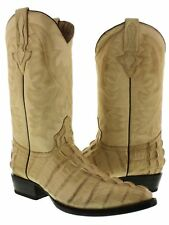 Mens Sand Crocodile Alligator Tail Official Western Cowboy Leather J Toe Boots