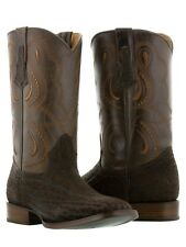 mens brown buffalo bull bison square leather western cowboy boots exotic rodeo