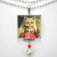 """SWEET CAT RED ROSE FLORAL """"VINTAGE CHARM"""" SILVER OR BRONZE ART PENDANT NECKLACE"""