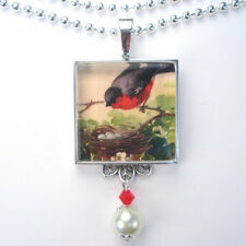 """RED ROBIN BIRD w NEST """"VINTAGE CHARM"""" SILVER OR BRONZE PENDANT NECKLACE"""