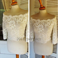 3/4 Sleeve Wedding Jackets Off Shoulder Lace White Ivory Custom Bridal Boleros