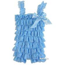Baby New Cinderella Cornflower Blue Lace Petti Rompers NB-3Y Costume
