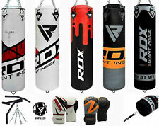 RDX Punch Bag 5ft Unfilled Kick Boxing Chin Pull Up Bar MMA Boxing Gloves Chains