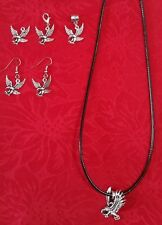 ANTIQUE SILVER EAGLE CHARM - LARGE, SMALL - NECKLACE - LOBSTER CLASP - BAIL
