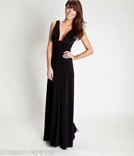 Goddess Long Black Cleavage Panel Grecian Maxi Evening Dress 10-14 Prom Ball