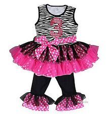 Glitter 3rd Black Hot Pink Zebra Ruffled Top Pants Set Birthday Outfit