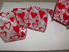 LOVE IS...Bright Red Flock Velvet Hearts Sheer Organza -Luxury Wire Edged Ribbon
