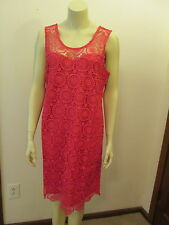 Women's Coral Pink Crochet Shift Dress, Mallory by Mud Pie, NWT