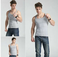 Fashion Quality 100% Cotton Mens A-Shirt Wife Beater Ribbed Tank Top Muscle Hot