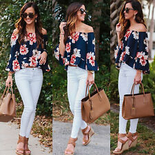 Womens Floral Print Off Shoulder Long Sleeve T-shirt Loose Tops Blouse Pullover