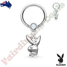 Authentic Playboy Captive Hoop Ring with Clear CZ Eyed Bunny Dangle