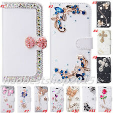 Magnetic Bling Luxury Diamonds Crystal PU Leather wallet flip Slots Cover Case T