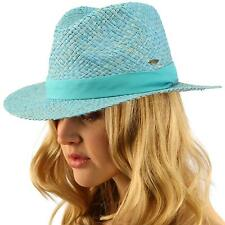 Summer CC Light weight Raffia Straw Fedora Panama Derby Beach Pool Sun Hat