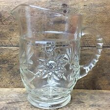 "Vintage Pressed Glass Starburst Pitcher 5.5"" H"