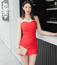 Sexy Women Strapless V-Neck Casual Cocktail Party Evening Short Mini Dress