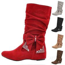Womens faux suede bow ribbon crystalShoes wedges heel Mid Calf Boots Plus size