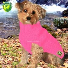 Chilly Dog Pink Cable Knit Dog Sweater Jacket Coat Handmade, XXS, XS, 2-10 lbs