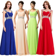 Formal Chiffon Long Bead Ball Gown Evening Party Cocktail Bridesmaid Prom Dress