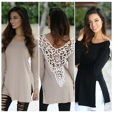 Women Long Sleeve Casual Shirt Lace Hollow Back Loose Cotton Blouse Top ED