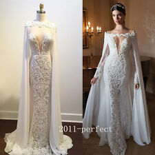 2017 Summer Wedding Dresses Mermaid Sexy Plunging Bridal Gowns With Cloak Custom