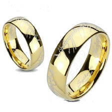 Sizes 4.5-14 - New Tungsten Carbide LOTR Lord Ring Laser Etched Gold IP Band